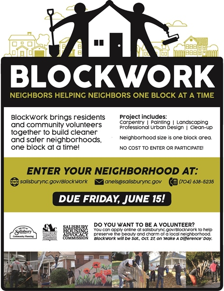 Salisbury Accepting Blockwork Applications through June 15, 2018
