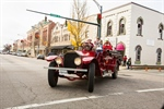 Santa & The Grinch With Antique Fire Trucks