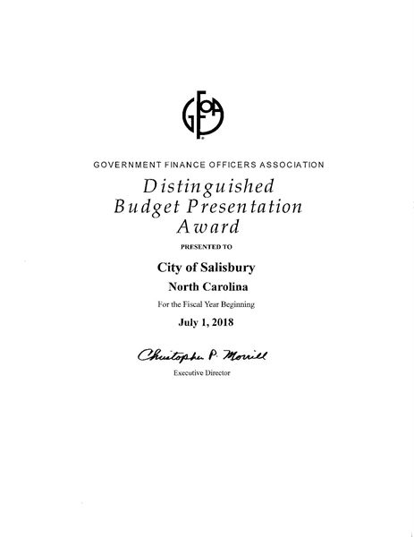 Salisbury receives Distinguished Budget Presentation Award for FY 18
