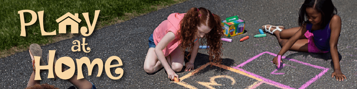 Play At Home text and Parks and Recreation logo shown over picture of children drawing with chalk on driveway.