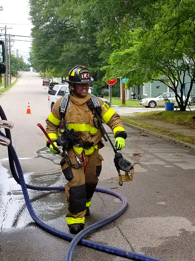 Firefighter during training exercise