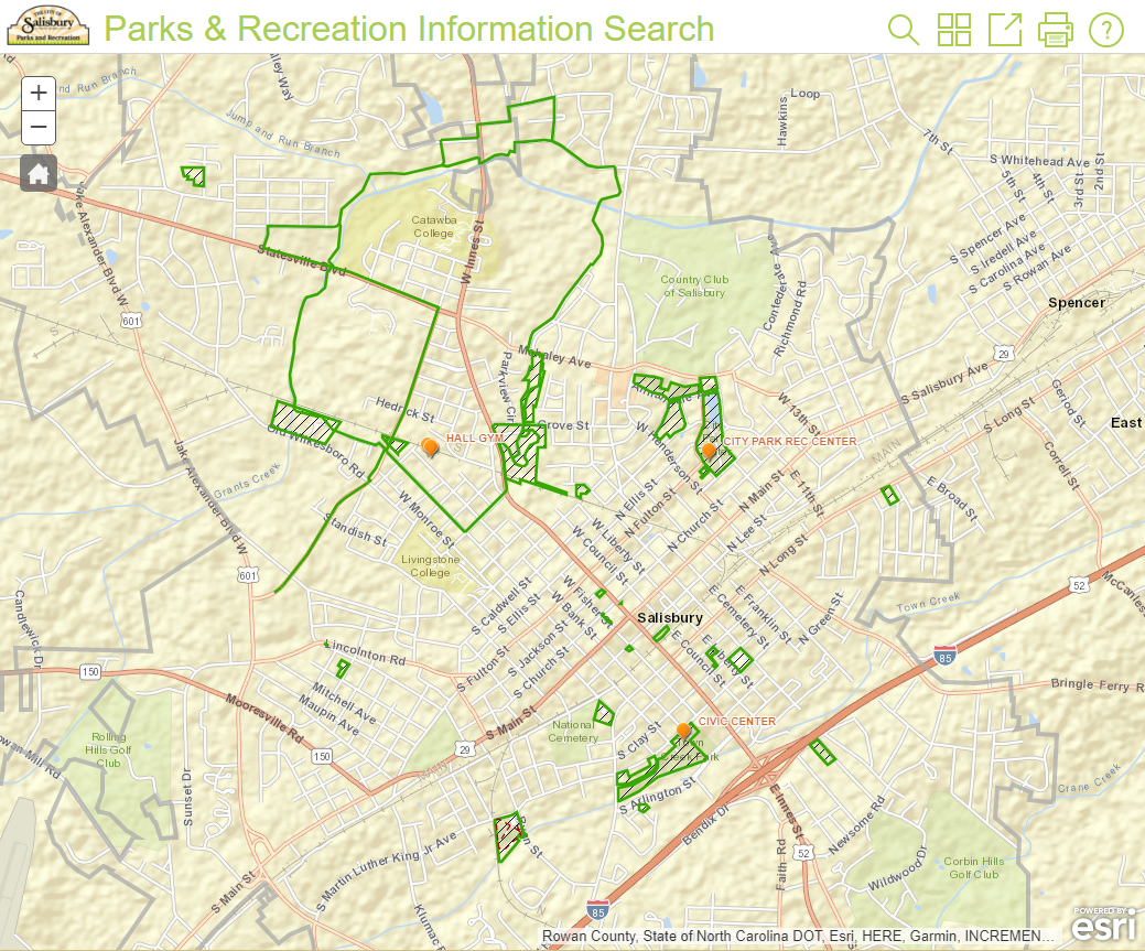 Parks & Recreation Information Search Application Screenshot