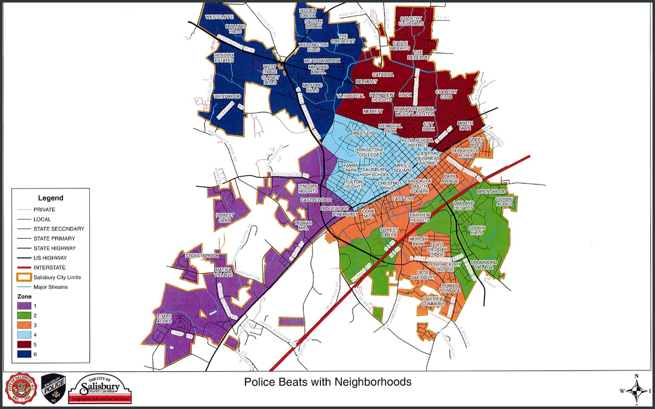 Map of which neighborhoods police officers have as part of their routine daily route