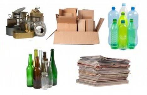 Materials allowed in recycling including newspapers, aluminum cans and plastic bottles