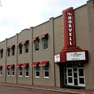 Exterior view of the Norvell theater sign