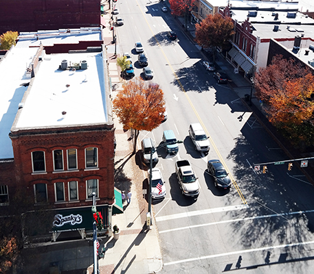 Overhead view of downtown salisbury, looking at the intersection of innes and main street, where the restaurant Spanky's is located