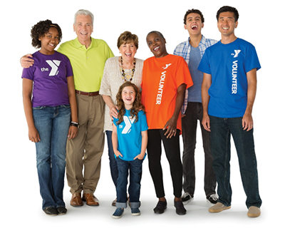 Diverse group of people wearing YMCA t-shirts
